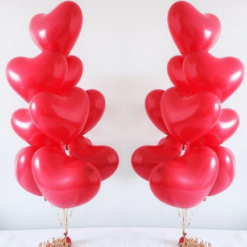 Фонтаны из воздушных шаров - сердечек