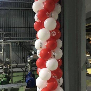 Арка из воздушных шаров с логотипом компании