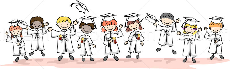 748300 stock photo kid graduates